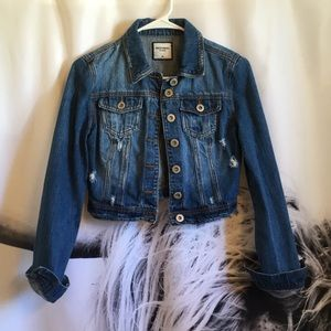 Distressed denim crop jacket